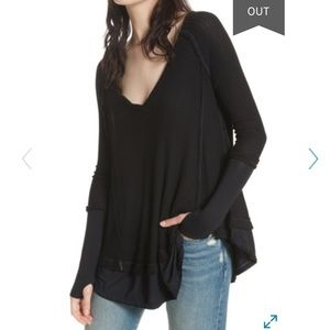 NWOT free people we the free black thermal top